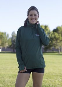 Front view of Las Vegas Runners women's half zip pullover.